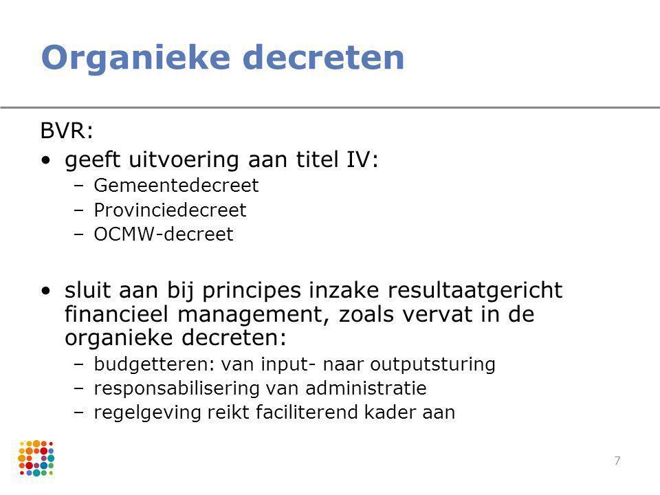 7 Organieke decreten BVR: geeft uitvoering aan titel IV: –Gemeentedecreet –Provinciedecreet –OCMW-decreet sluit aan bij principes inzake resultaatgeri