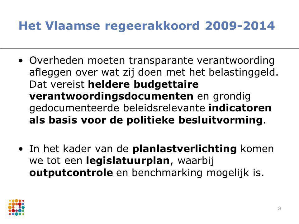 8 Het Vlaamse regeerakkoord 2009-2014 Overheden moeten transparante verantwoording afleggen over wat zij doen met het belastinggeld. Dat vereist helde