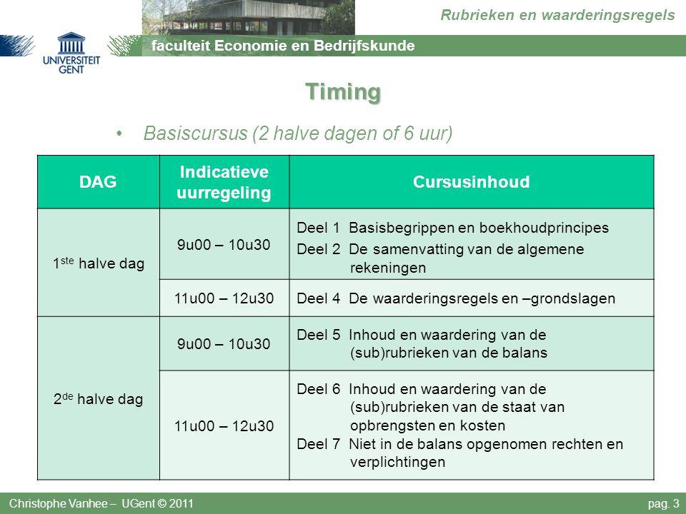 faculteit Economie en Bedrijfskunde Rubrieken en waarderingsregels Timing Basiscursus (2 halve dagen of 6 uur) Christophe Vanhee – UGent © 2011pag. 3