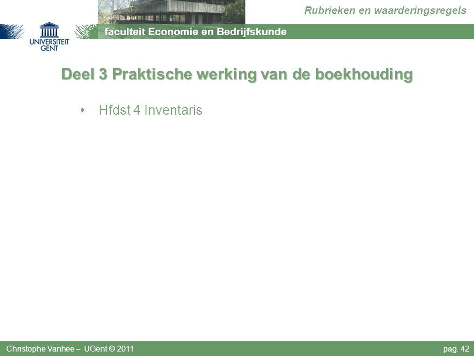 faculteit Economie en Bedrijfskunde Rubrieken en waarderingsregels Deel 3 Praktische werking van de boekhouding Hfdst 4 Inventaris Christophe Vanhee –