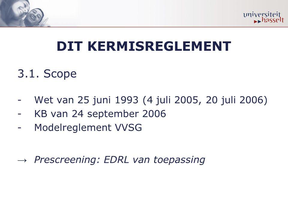 DIT KERMISREGLEMENT 3.1. Scope -Wet van 25 juni 1993 (4 juli 2005, 20 juli 2006) -KB van 24 september 2006 -Modelreglement VVSG → Prescreening: EDRL v