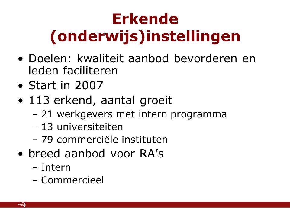Erkende (onderwijs)instellingen Doelen: kwaliteit aanbod bevorderen en leden faciliteren Start in 2007 113 erkend, aantal groeit –21 werkgevers met intern programma –13 universiteiten –79 commerciële instituten breed aanbod voor RA's –Intern –Commercieel