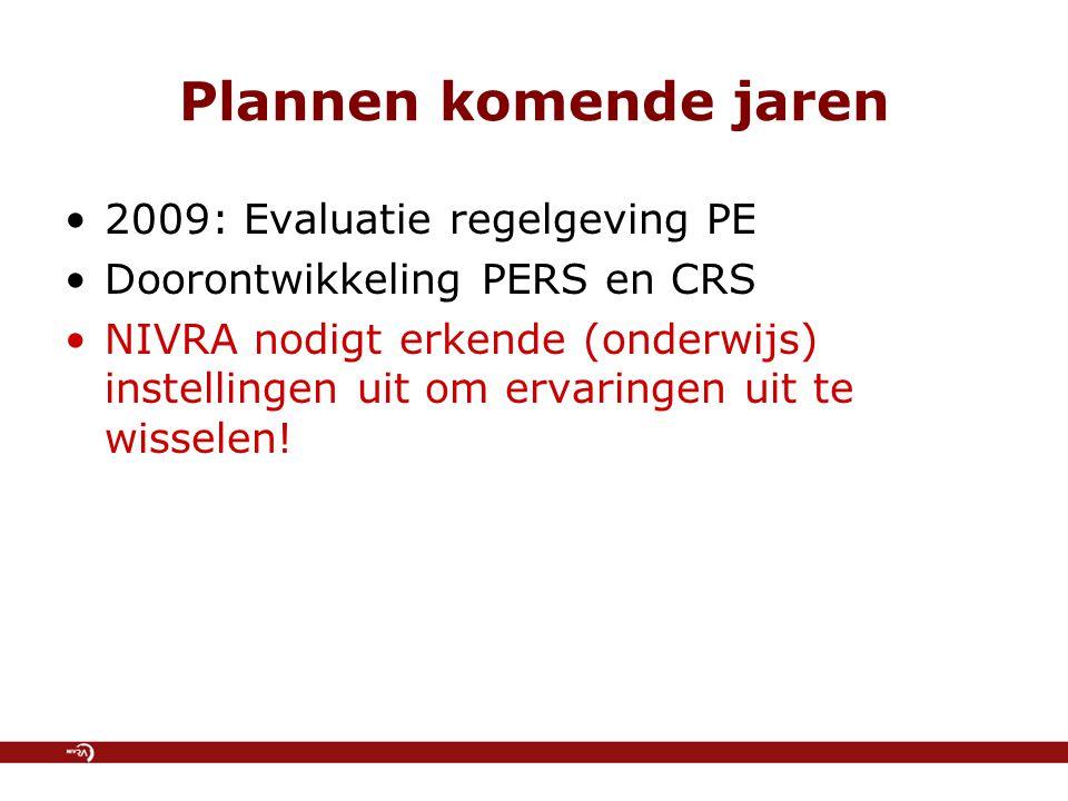 Plannen komende jaren 2009: Evaluatie regelgeving PE Doorontwikkeling PERS en CRS NIVRA nodigt erkende (onderwijs) instellingen uit om ervaringen uit te wisselen!