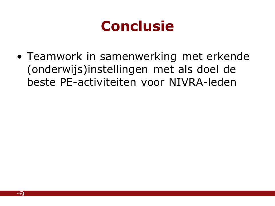 Conclusie Teamwork in samenwerking met erkende (onderwijs)instellingen met als doel de beste PE-activiteiten voor NIVRA-leden