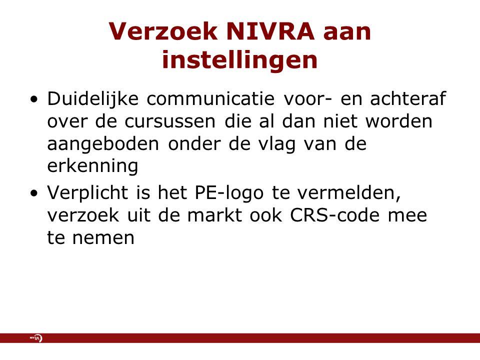 Verzoek NIVRA aan instellingen Duidelijke communicatie voor- en achteraf over de cursussen die al dan niet worden aangeboden onder de vlag van de erkenning Verplicht is het PE-logo te vermelden, verzoek uit de markt ook CRS-code mee te nemen