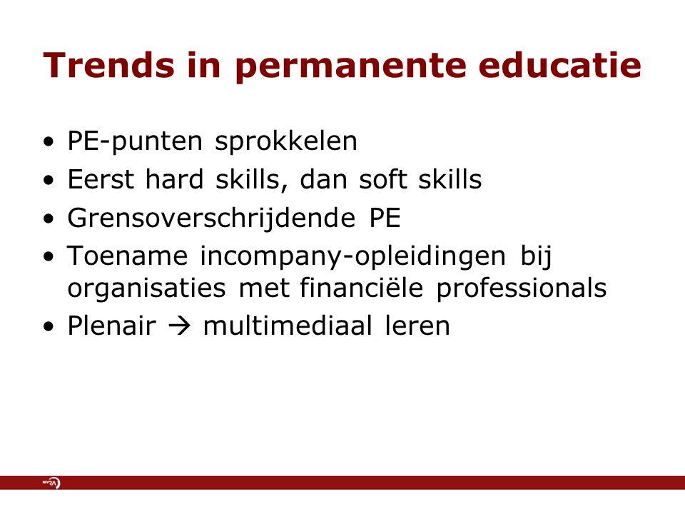 Trends in permanente educatie PE-punten sprokkelen Eerst hard skills, dan soft skills Grensoverschrijdende PE Toename incompany-opleidingen bij organisaties met financiële professionals Plenair  multimediaal leren