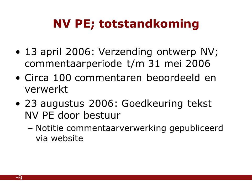 NV PE; totstandkoming 13 april 2006: Verzending ontwerp NV; commentaarperiode t/m 31 mei 2006 Circa 100 commentaren beoordeeld en verwerkt 23 augustus 2006: Goedkeuring tekst NV PE door bestuur –Notitie commentaarverwerking gepubliceerd via website