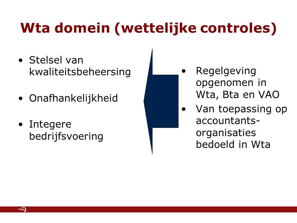 Wta domein (wettelijke controles) Stelsel van kwaliteitsbeheersing Onafhankelijkheid Integere bedrijfsvoering Regelgeving opgenomen in Wta, Bta en VAO Van toepassing op accountants- organisaties bedoeld in Wta