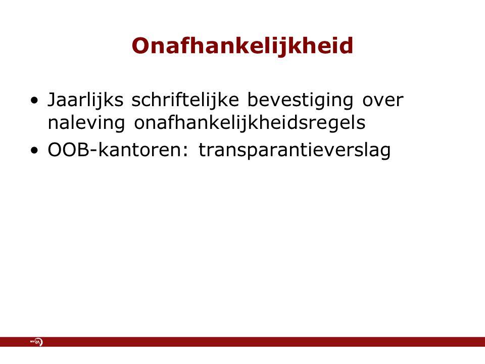 Onafhankelijkheid Jaarlijks schriftelijke bevestiging over naleving onafhankelijkheidsregels OOB-kantoren: transparantieverslag