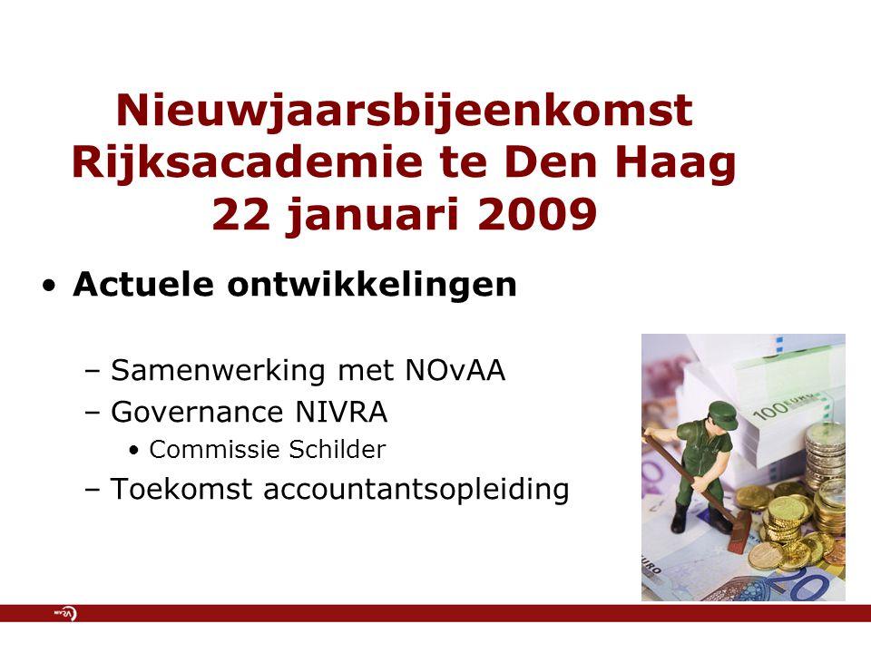 Nieuwjaarsbijeenkomst Rijksacademie te Den Haag 22 januari 2009 Actuele ontwikkelingen –Samenwerking met NOvAA –Governance NIVRA Commissie Schilder –T