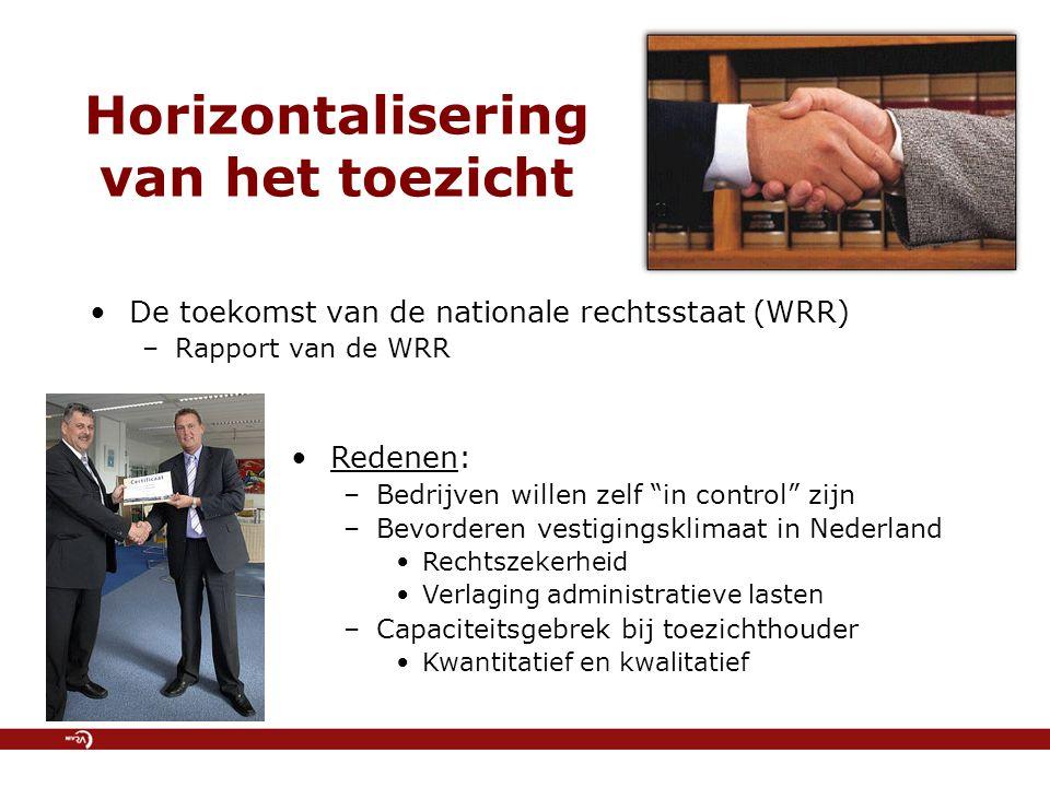 """Horizontalisering van het toezicht De toekomst van de nationale rechtsstaat (WRR) –Rapport van de WRR Redenen: –Bedrijven willen zelf """"in control"""" zij"""