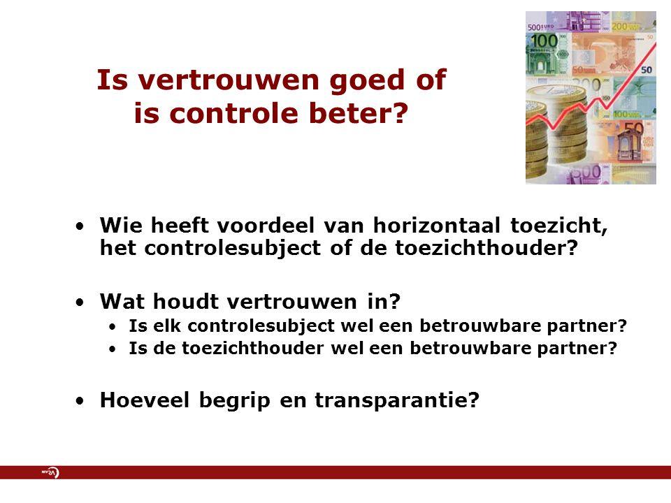 Is vertrouwen goed of is controle beter? Wie heeft voordeel van horizontaal toezicht, het controlesubject of de toezichthouder? Wat houdt vertrouwen i
