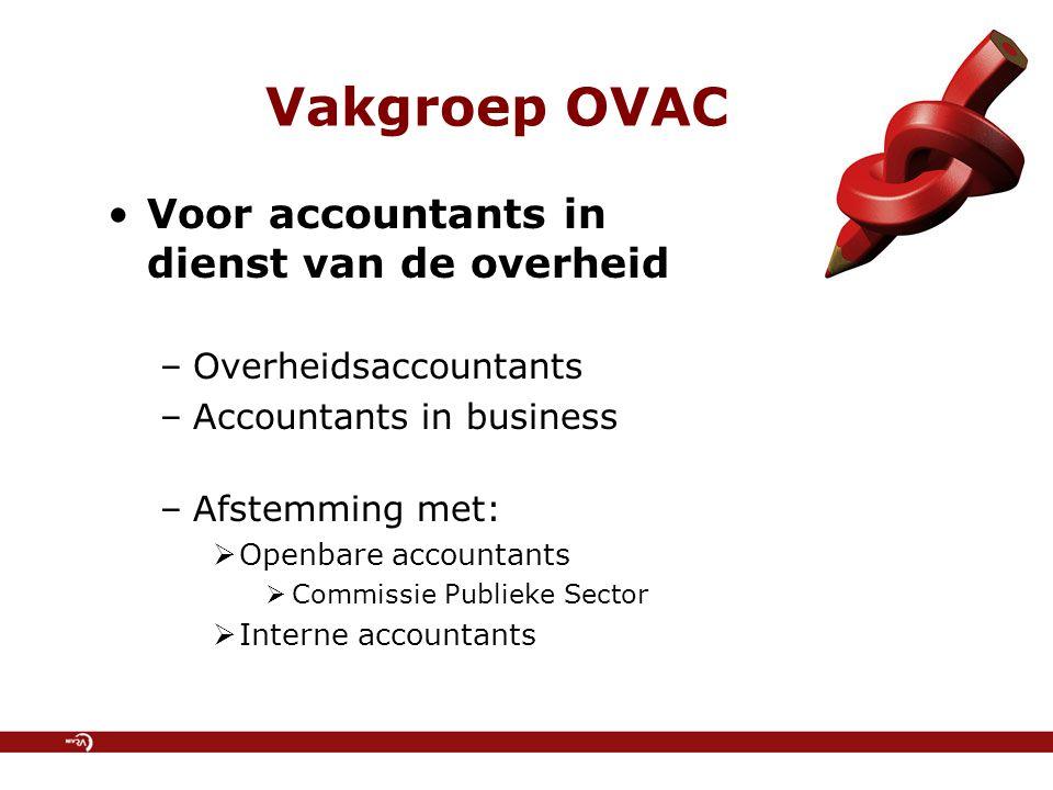 Vakgroep OVAC Voor accountants in dienst van de overheid –Overheidsaccountants –Accountants in business –Afstemming met:  Openbare accountants  Comm