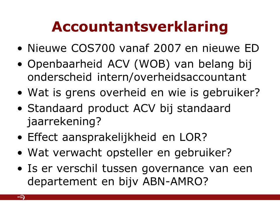 Accountantsverklaring Nieuwe COS700 vanaf 2007 en nieuwe ED Openbaarheid ACV (WOB) van belang bij onderscheid intern/overheidsaccountant Wat is grens overheid en wie is gebruiker.