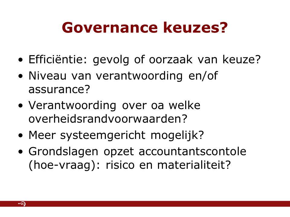 Governance keuzes. Efficiëntie: gevolg of oorzaak van keuze.