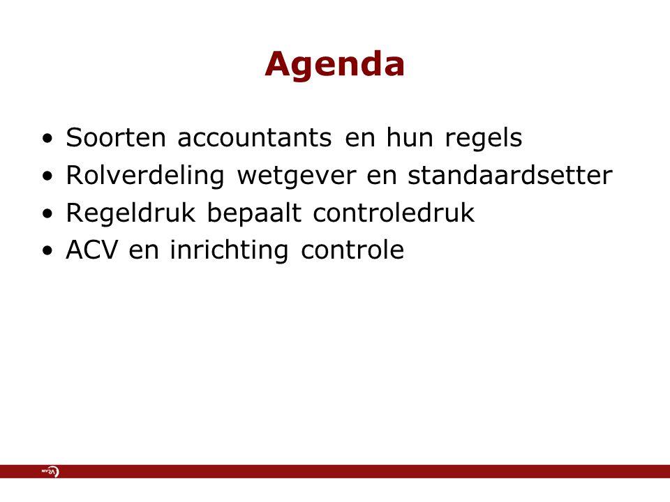 Agenda Soorten accountants en hun regels Rolverdeling wetgever en standaardsetter Regeldruk bepaalt controledruk ACV en inrichting controle