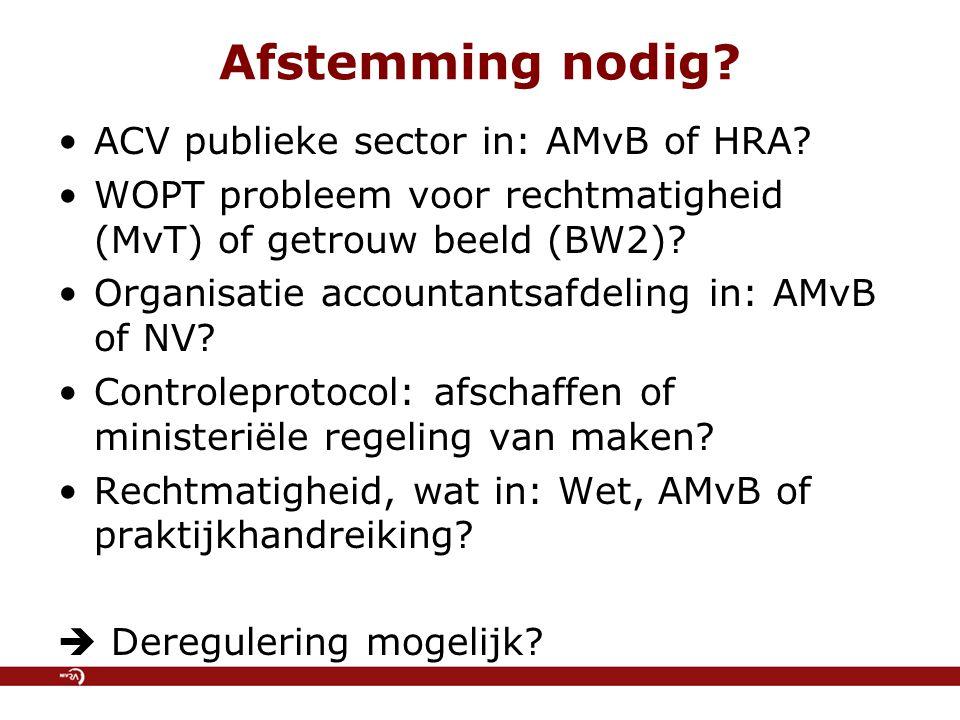 Afstemming nodig. ACV publieke sector in: AMvB of HRA.