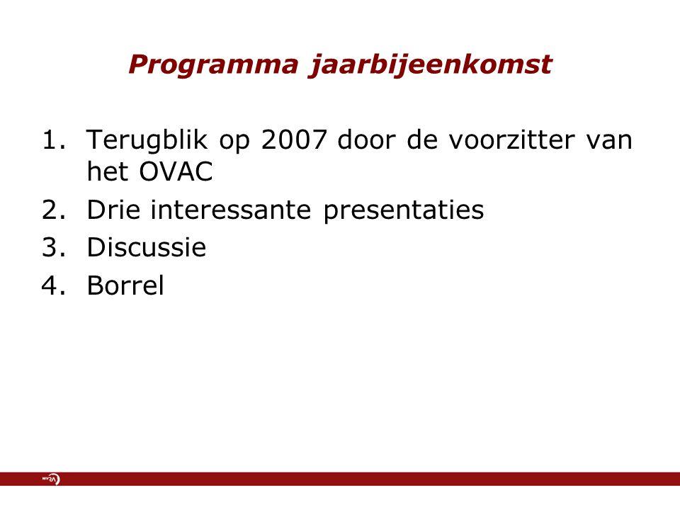 Programma jaarbijeenkomst 1.Terugblik op 2007 door de voorzitter van het OVAC 2.Drie interessante presentaties 3.Discussie 4.Borrel