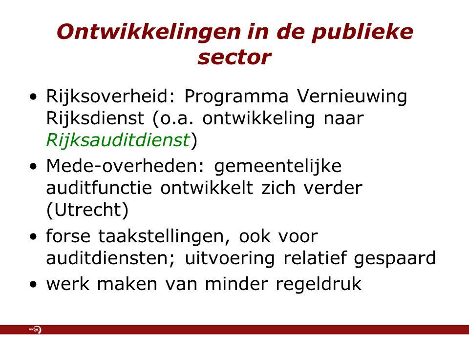 Ontwikkelingen in de publieke sector Rijksoverheid: Programma Vernieuwing Rijksdienst (o.a. ontwikkeling naar Rijksauditdienst) Mede-overheden: gemeen