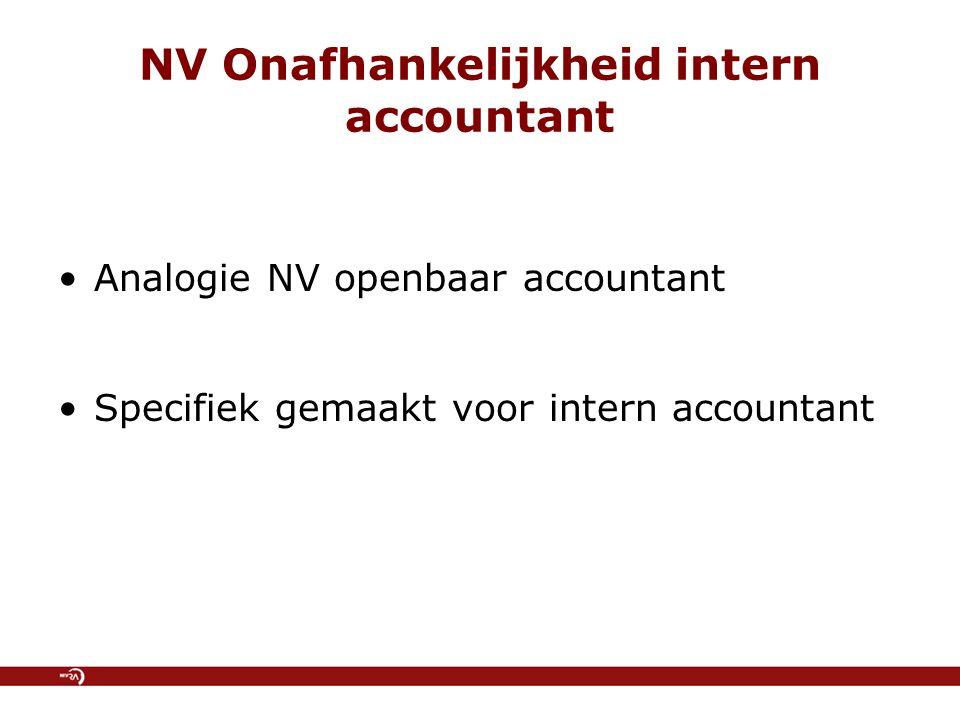 NV Onafhankelijkheid intern accountant Analogie NV openbaar accountant Specifiek gemaakt voor intern accountant