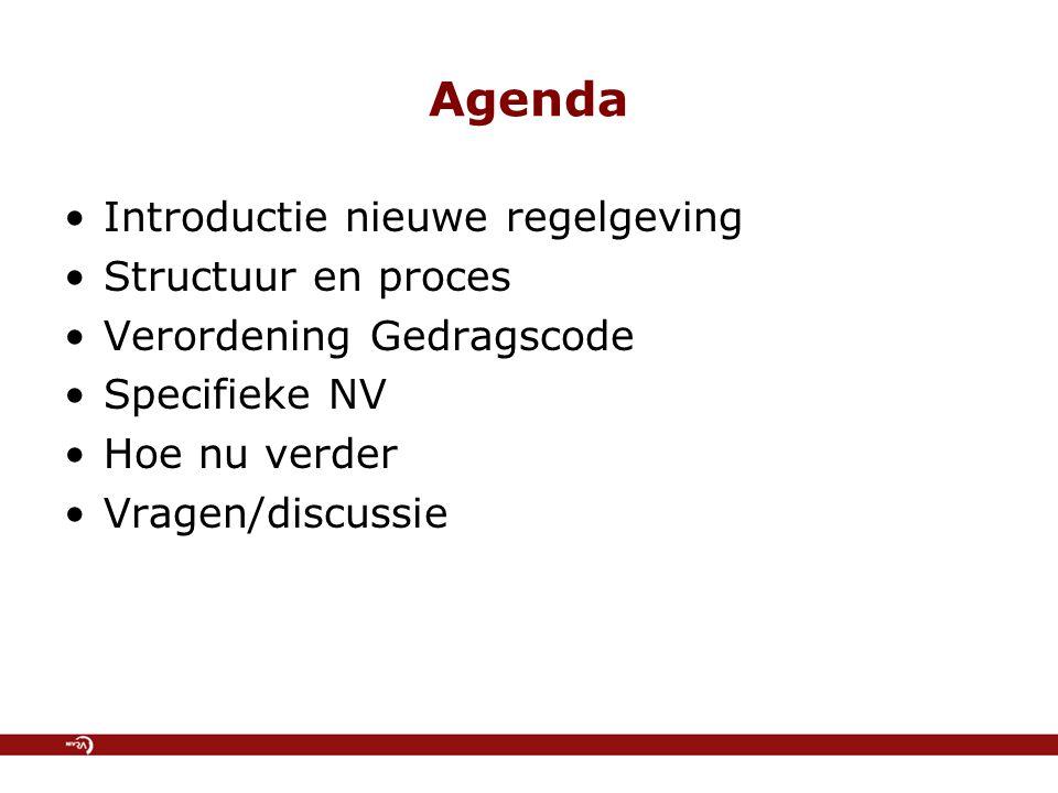 Agenda Introductie nieuwe regelgeving Structuur en proces Verordening Gedragscode Specifieke NV Hoe nu verder Vragen/discussie