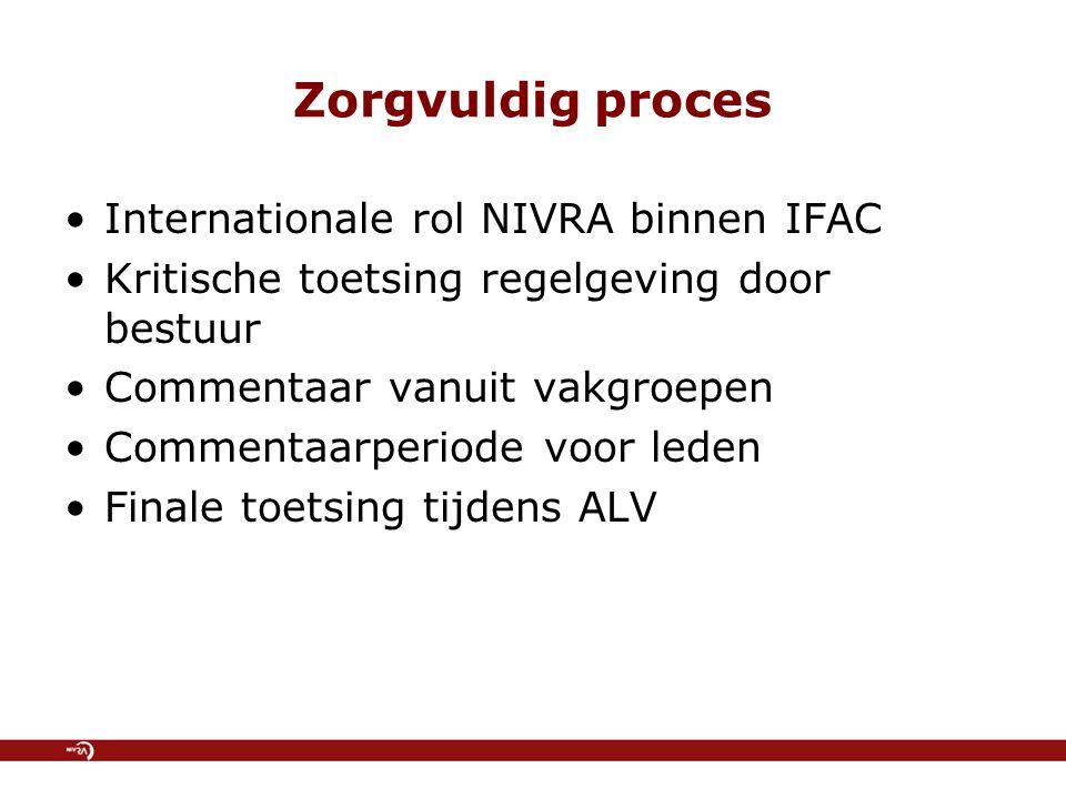 Regelgeving voor Nederland Doorvertaling internationaal stelsel, maar met aanpassingen Resultaat: sterk vernieuwd stelsel van regelgeving Nieuw Handboek Regelgeving Accountancy vervangt huidige RAC-bundel (vanaf januari 2007)