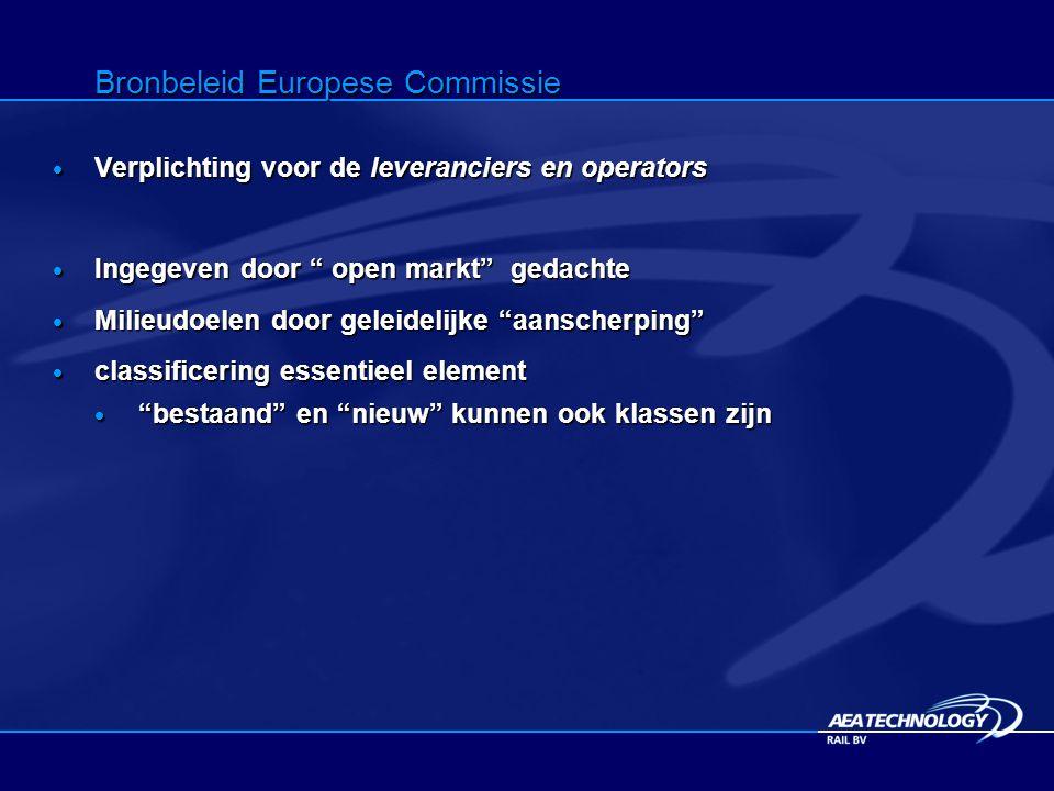 Bronbeleid Europese Commissie  Verplichting voor de leveranciers en operators  Ingegeven door open markt gedachte  Milieudoelen door geleidelijke aanscherping  classificering essentieel element  bestaand en nieuw kunnen ook klassen zijn