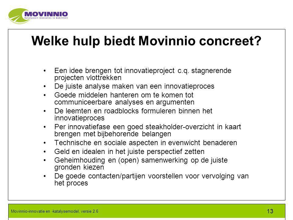 Movinnio-innovatie en -katalysemodel, versie 2.6 13 Welke hulp biedt Movinnio concreet.