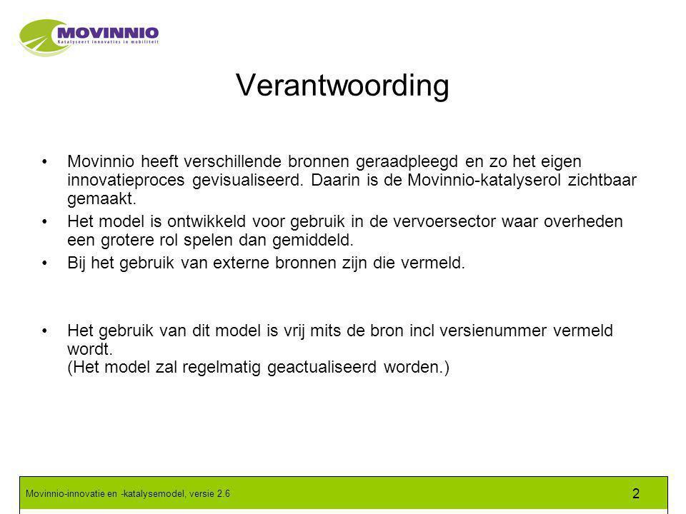 Movinnio-innovatie en -katalysemodel, versie 2.6 2 Verantwoording Movinnio heeft verschillende bronnen geraadpleegd en zo het eigen innovatieproces gevisualiseerd.