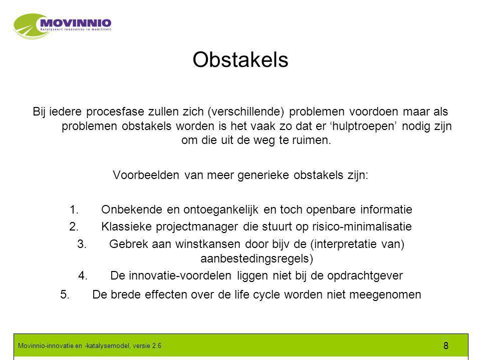 Movinnio-innovatie en -katalysemodel, versie 2.6 8 Obstakels Bij iedere procesfase zullen zich (verschillende) problemen voordoen maar als problemen obstakels worden is het vaak zo dat er 'hulptroepen' nodig zijn om die uit de weg te ruimen.