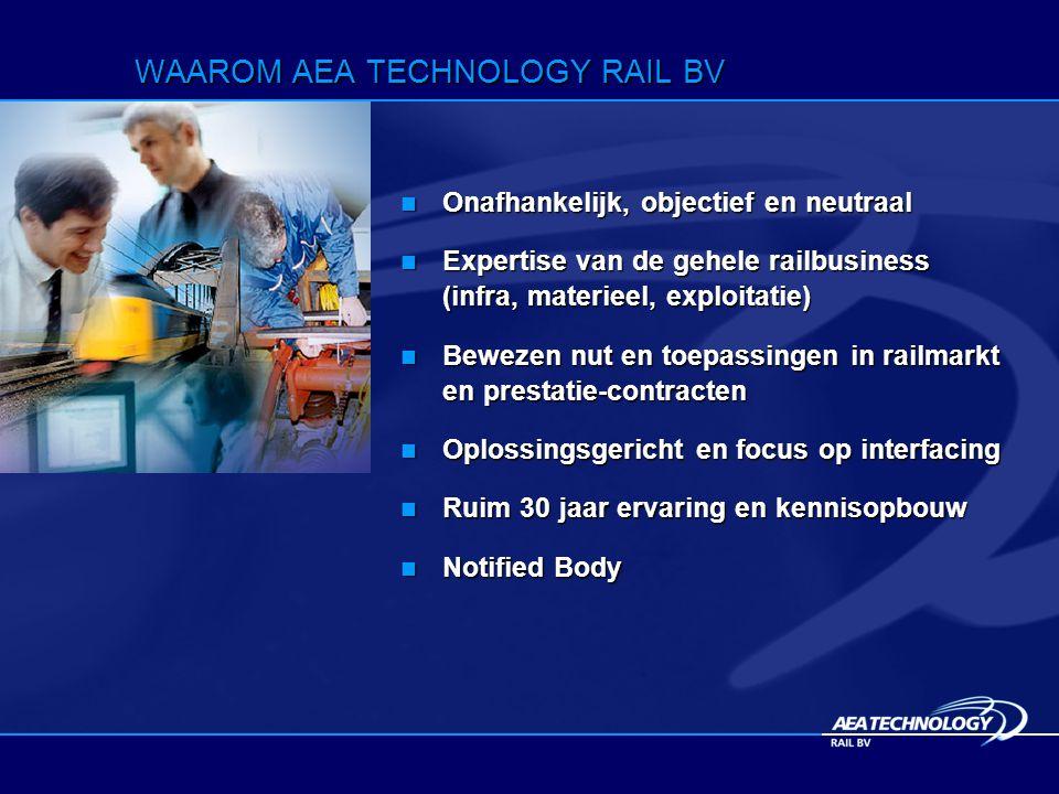 WAAROM AEA TECHNOLOGY RAIL BV Onafhankelijk, objectief en neutraal Onafhankelijk, objectief en neutraal Expertise van de gehele railbusiness (infra, materieel, exploitatie) Expertise van de gehele railbusiness (infra, materieel, exploitatie) Bewezen nut en toepassingen in railmarkt en prestatie-contracten Bewezen nut en toepassingen in railmarkt en prestatie-contracten Oplossingsgericht en focus op interfacing Oplossingsgericht en focus op interfacing Ruim 30 jaar ervaring en kennisopbouw Ruim 30 jaar ervaring en kennisopbouw Notified Body Notified Body