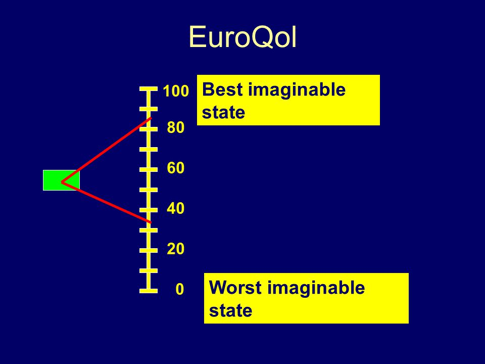 EuroQol Best imaginable state Worst imaginable state 100 80 60 40 20 0