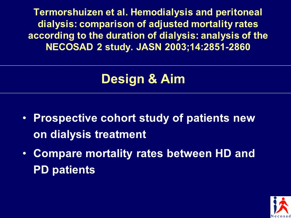 Termorshuizen et al. Hemodialysis and peritoneal dialysis: comparison of adjusted mortality rates according to the duration of dialysis: analysis of t