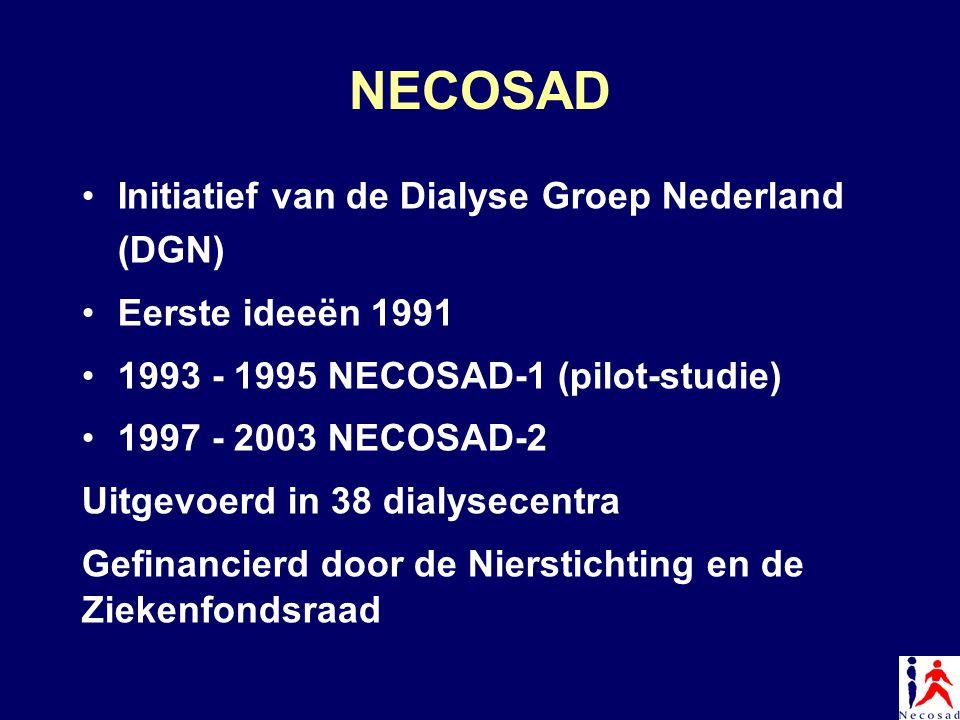 NECOSAD Initiatief van de Dialyse Groep Nederland (DGN) Eerste ideeën 1991 1993 - 1995 NECOSAD-1 (pilot-studie) 1997 - 2003 NECOSAD-2 Uitgevoerd in 38