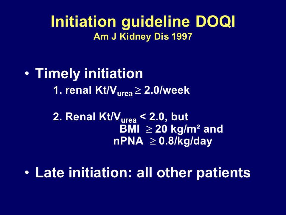 Initiation guideline DOQI Am J Kidney Dis 1997 Timely initiation 1. renal Kt/V urea  2.0/week 2. Renal Kt/V urea < 2.0, but BMI  20 kg/m² and nPNA 