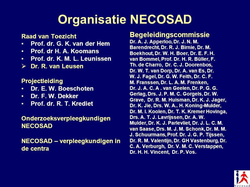 Organisatie NECOSAD Raad van Toezicht Prof. dr. G. K. van der Hem Prof. dr H. A. Koomans Prof. dr. K. M. L. Leunissen  Dr. R. van Leusen Projectleidi