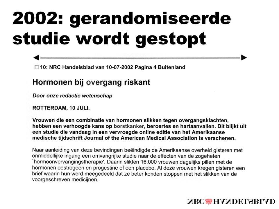 2002: gerandomiseerde studie wordt gestopt