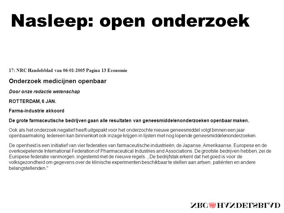 Nasleep: open onderzoek 17: NRC Handelsblad van 06-01-2005 Pagina 13 Economie Onderzoek medicijnen openbaar Door onze redactie wetenschap ROTTERDAM, 6 JAN.