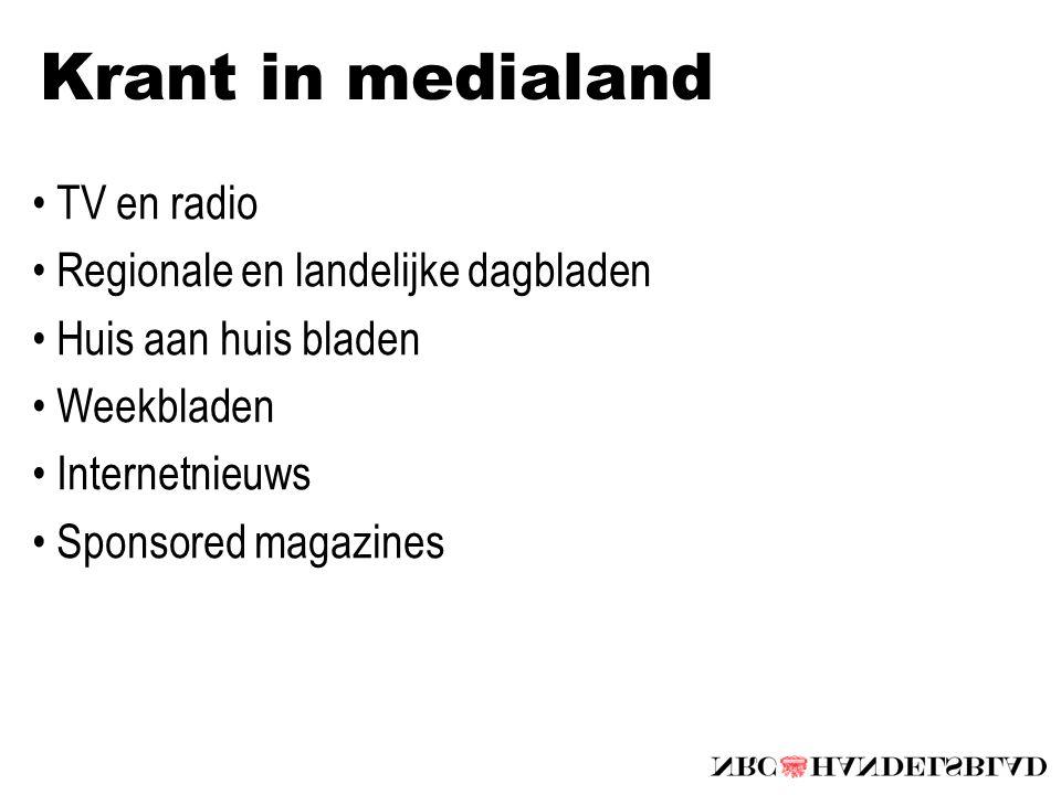 Krant in medialand TV en radio Regionale en landelijke dagbladen Huis aan huis bladen Weekbladen Internetnieuws Sponsored magazines
