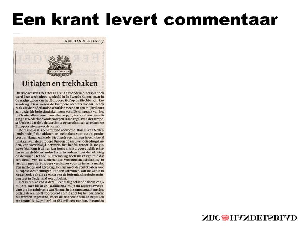 Een krant levert commentaar