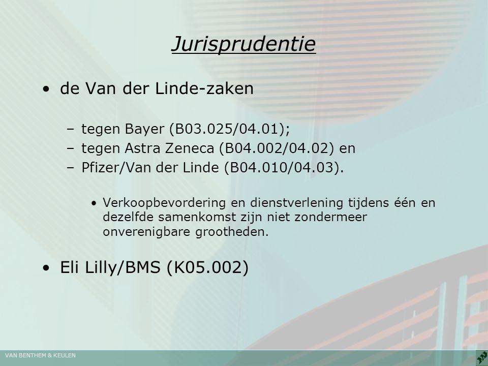 VAN BENTHEM & KEULEN Jurisprudentie de Van der Linde-zaken –tegen Bayer (B03.025/04.01); –tegen Astra Zeneca (B04.002/04.02) en –Pfizer/Van der Linde