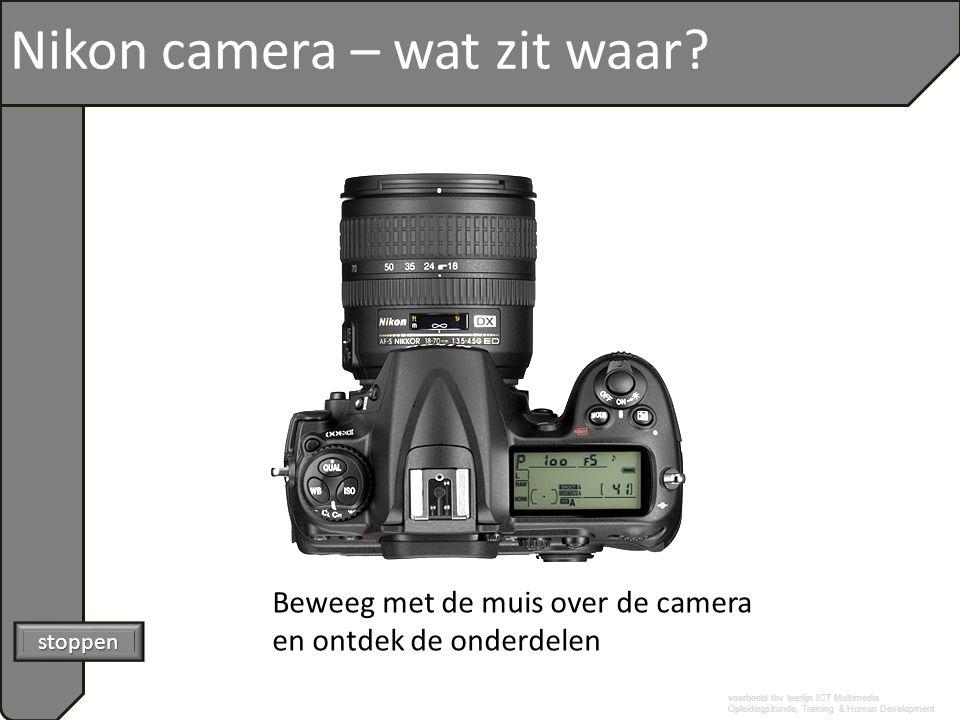 voorbeeld tbv leerlijn ICT Multimedia Opleidingskunde, Training & Human Development Nikon camera – wat zit waar? Beweeg met de muis over de camera en
