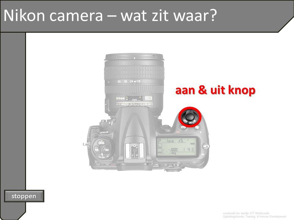 voorbeeld tbv leerlijn ICT Multimedia Opleidingskunde, Training & Human Development Nikon camera – wat zit waar? stoppen aan & uit knop