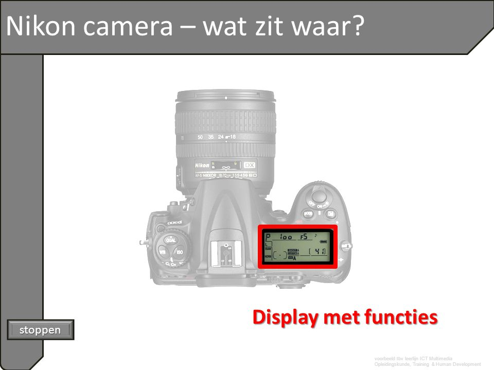 voorbeeld tbv leerlijn ICT Multimedia Opleidingskunde, Training & Human Development Nikon camera – wat zit waar? stoppen Display met functies