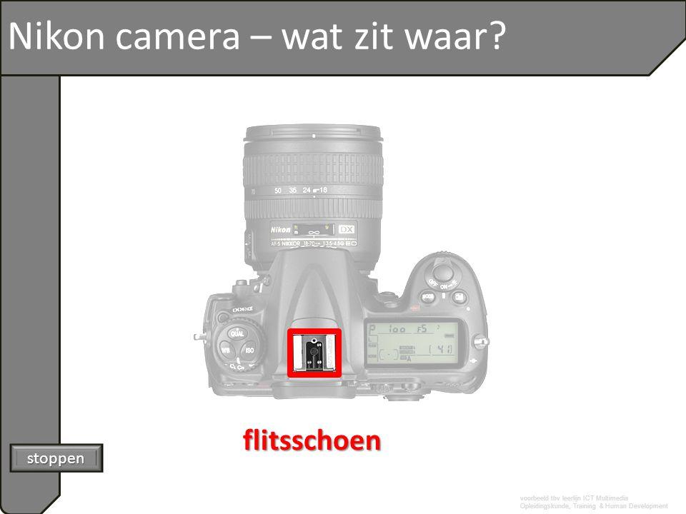 voorbeeld tbv leerlijn ICT Multimedia Opleidingskunde, Training & Human Development Nikon camera – wat zit waar? stoppen flitsschoen