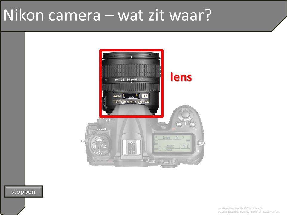 voorbeeld tbv leerlijn ICT Multimedia Opleidingskunde, Training & Human Development Nikon camera – wat zit waar lens stoppen