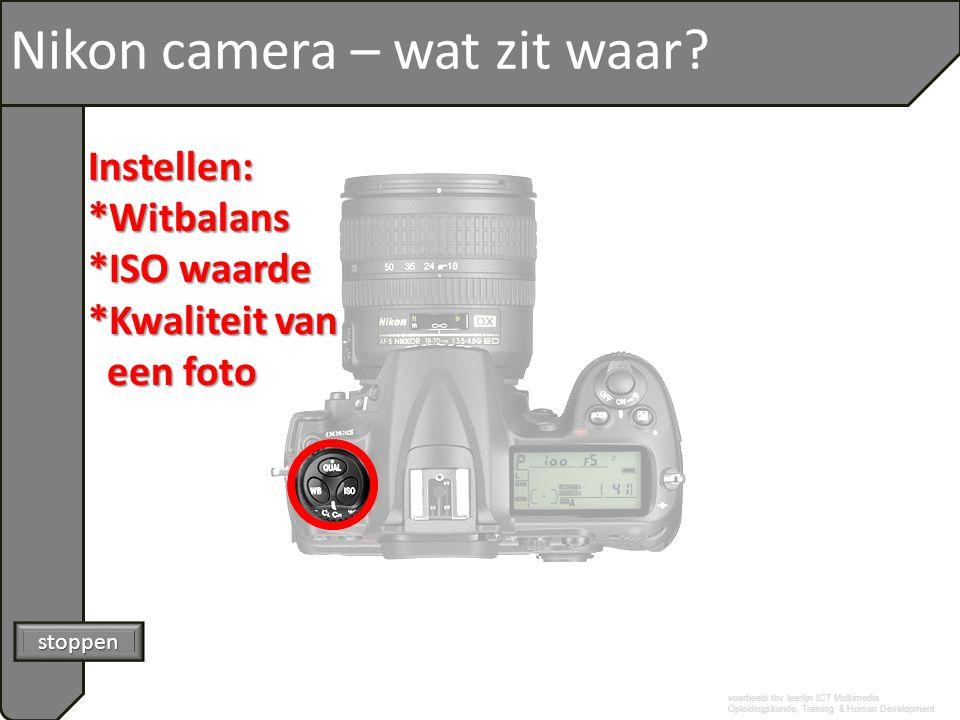 voorbeeld tbv leerlijn ICT Multimedia Opleidingskunde, Training & Human Development Nikon camera – wat zit waar? stoppen Instellen:*Witbalans *ISO waa