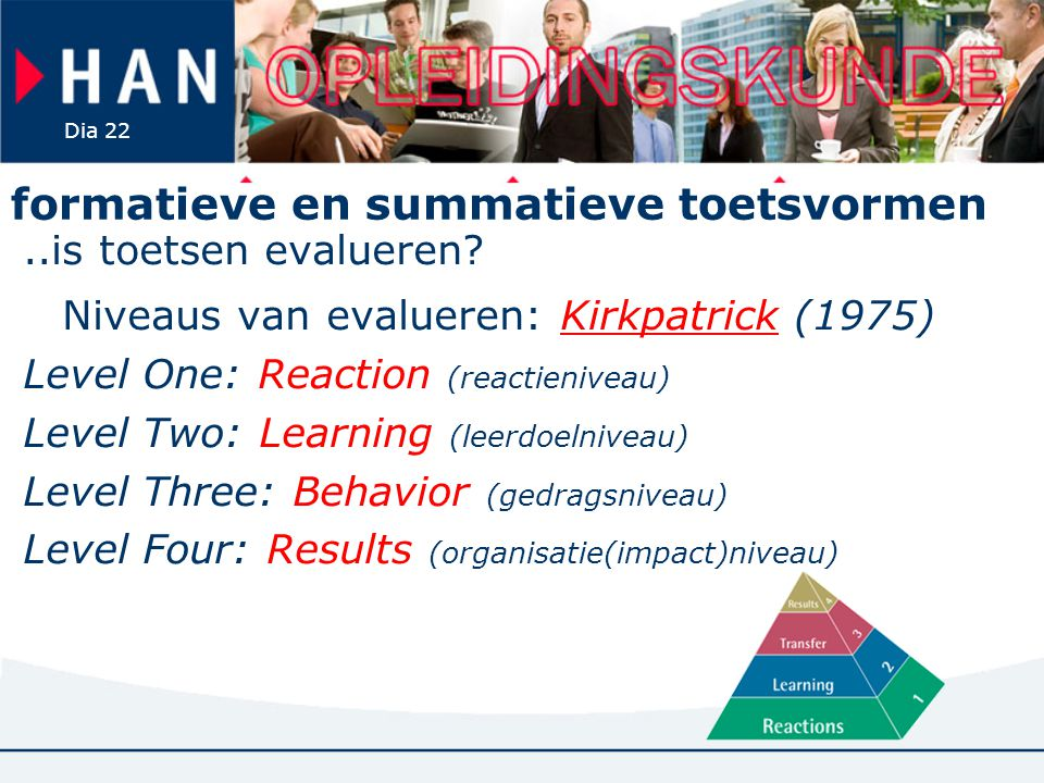 Dia 22 formatieve en summatieve toetsvormen..is toetsen evalueren? Niveaus van evalueren: Kirkpatrick (1975)Kirkpatrick Level One: Reaction (reactieni