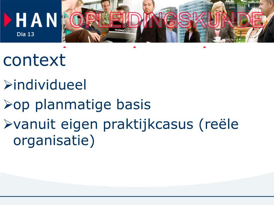 Dia 13 context  individueel  op planmatige basis  vanuit eigen praktijkcasus (reële organisatie)