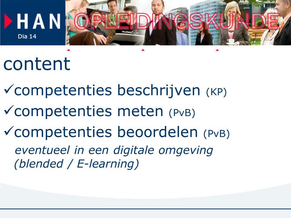 Dia 14 content competenties beschrijven (KP) competenties meten (PvB) competenties beoordelen (PvB) eventueel in een digitale omgeving (blended / E-le
